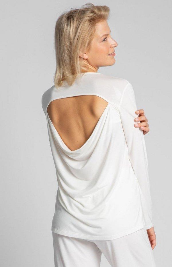 Wiskozowa bluzka ecru z rozcięciem na plecach LA027 tył