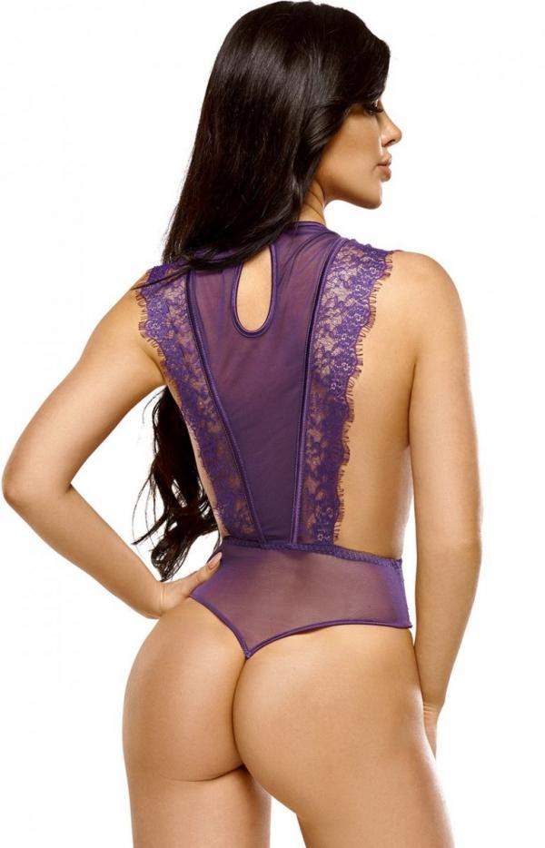 Beauty Night Emiliana koronkowe body fioletowe tył