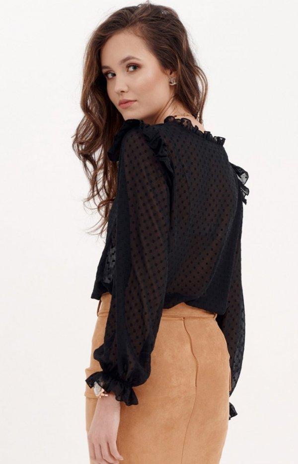 Delikatna czarna bluzka z falbankami 0058 tył