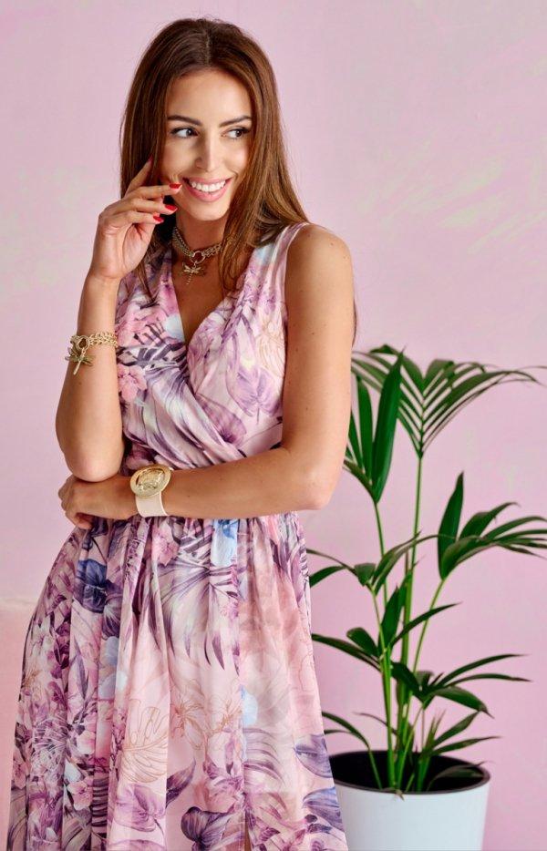 Szyfonowa długa sukienka letnia kolorowa 0209 U66-1