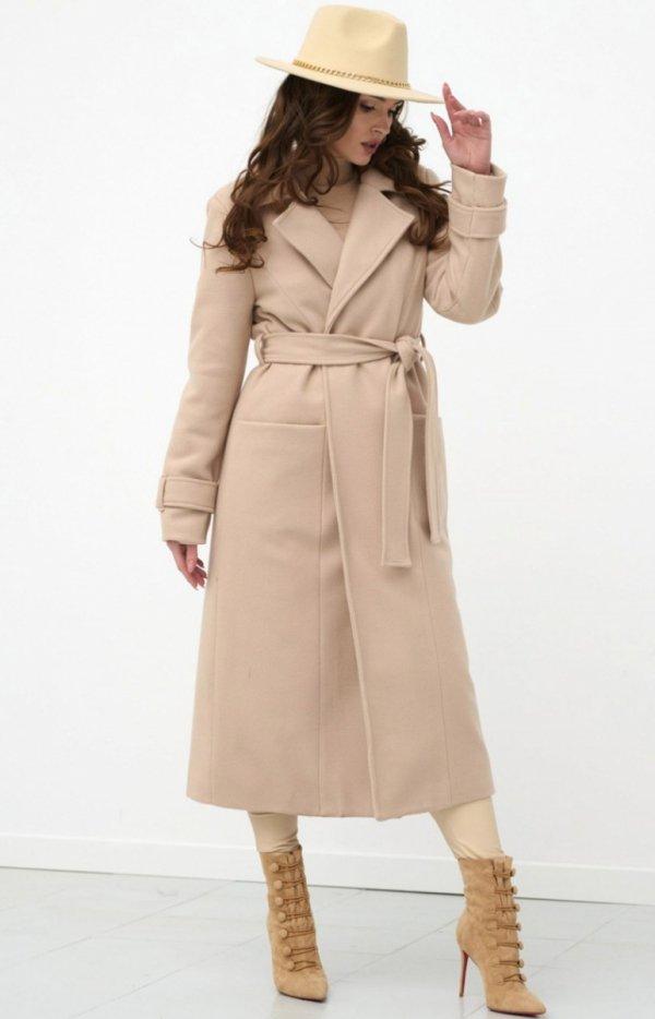 Długi płaszcz z wiązaniem beżowy 0017-2