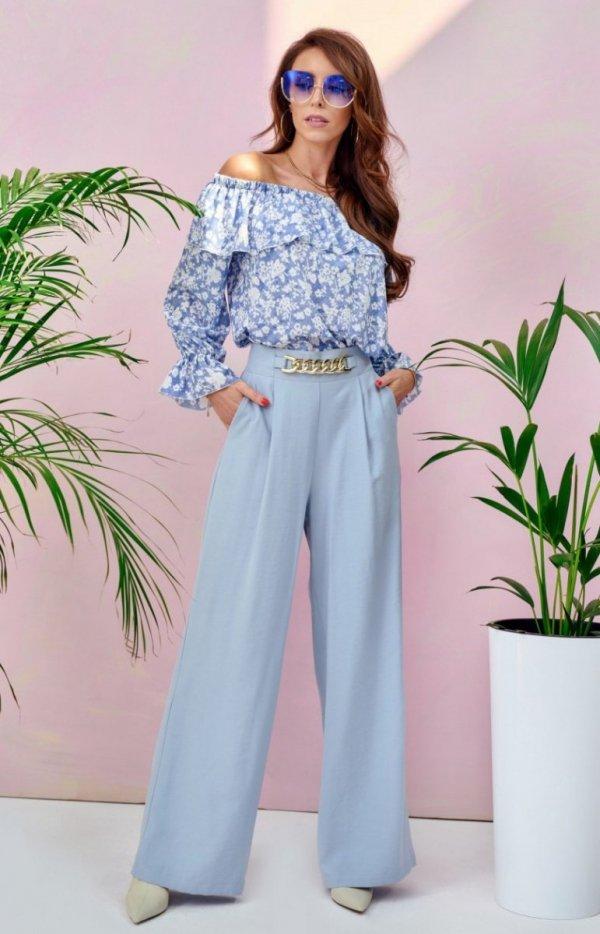Szerokie spodnie plazzo błękitne 0011