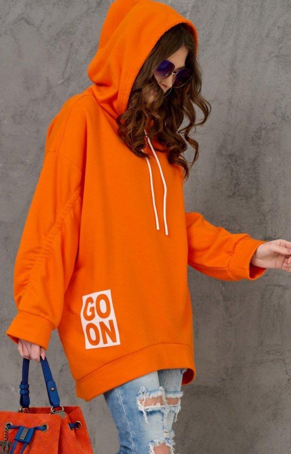Oversizowa bluza damska z kapturem pomarańczowa 0006-1