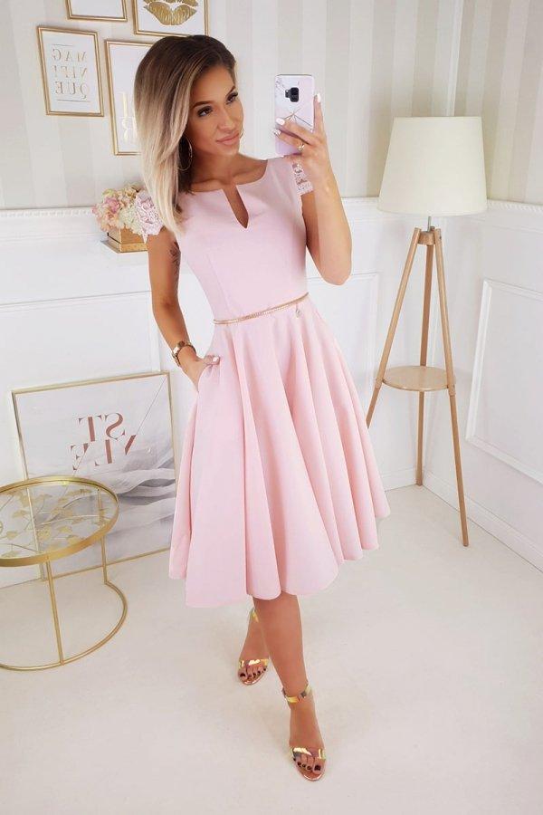 Koktajlowa sukienka midi różowa 2212-12-1
