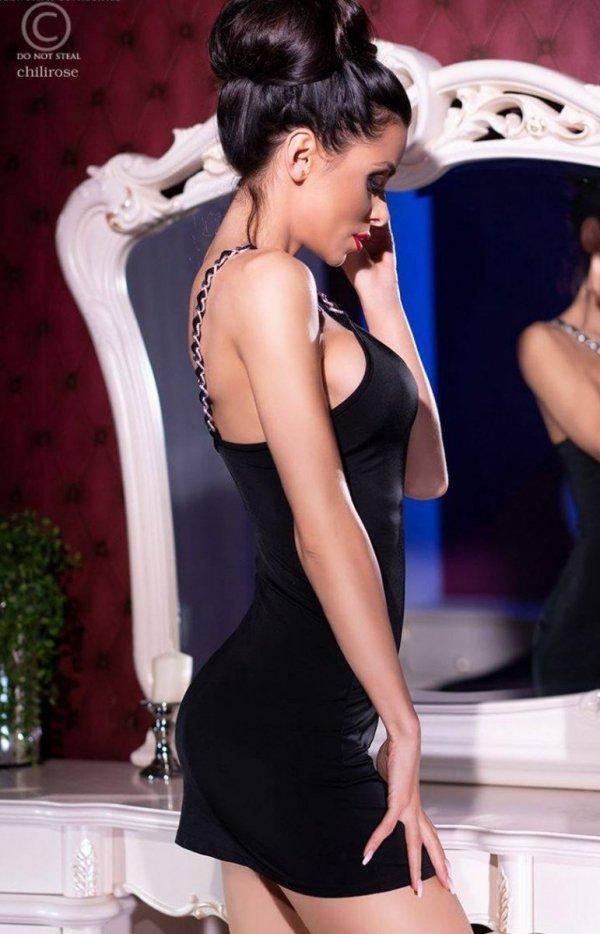 Dopasowana mini sukienka czarna 4242 -1