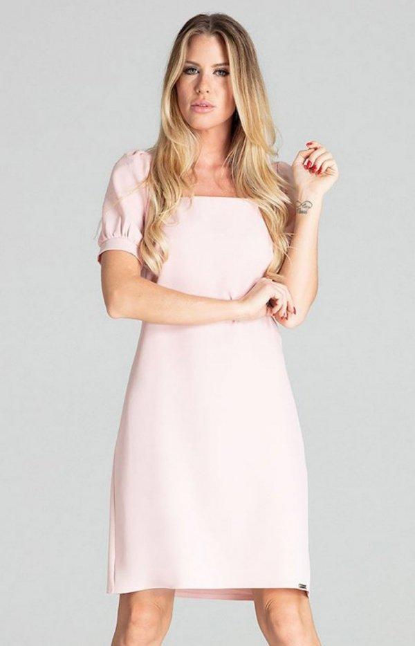 Sukienka w kratę Figl M704 pudrowy róż