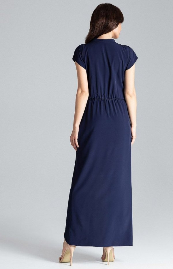 Długa sukienka grantaowa L033 tył