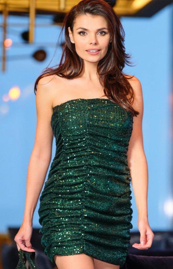 Kobieca mini sukienka zielona A401
