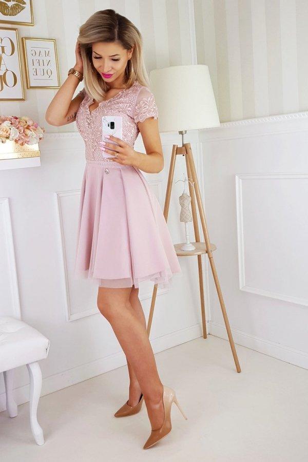 Koronkowa sukienka z tiulem 2180-20-3