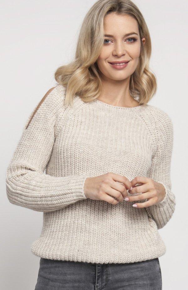 Raglanowy sweter beż SWE126