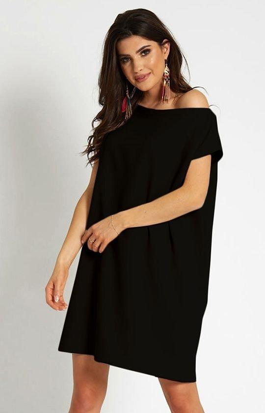 Wiązana sukienka Valencia czarna 297-1