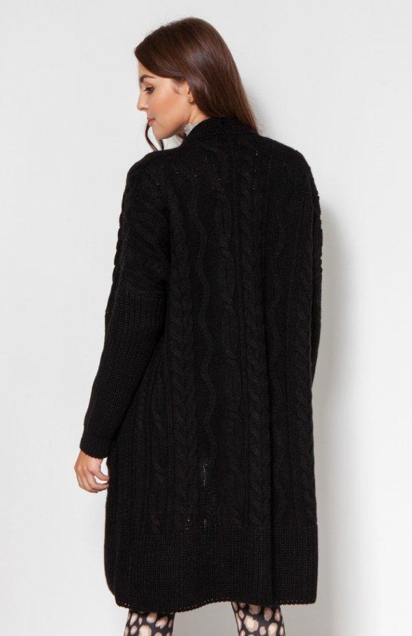 Swetrowy płaszcz z kieszeniami czarny SWE139 tył