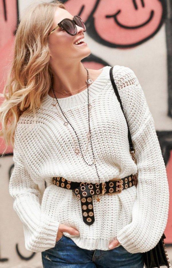 Oversizowy sweter ecru S74