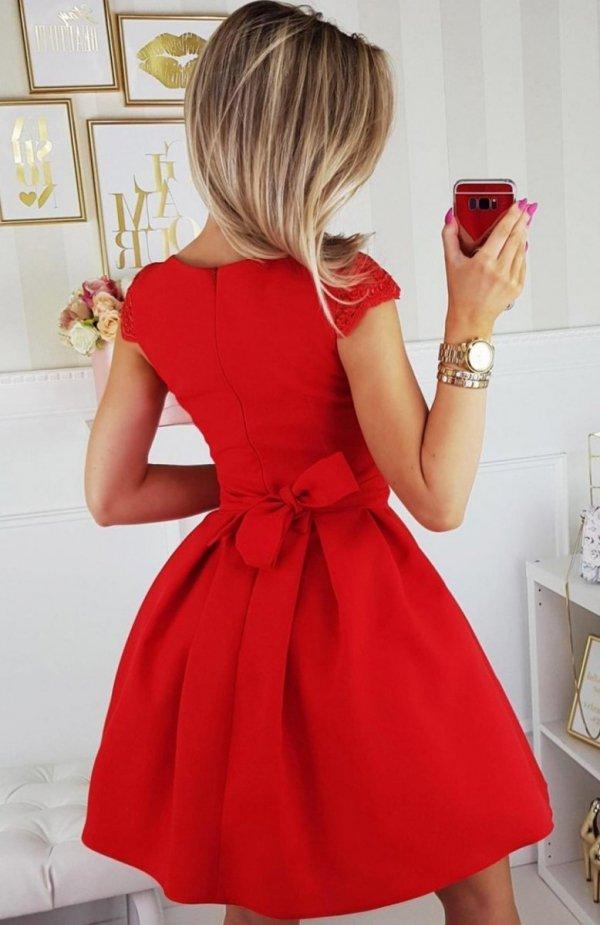 Bicotone 2139-02N sukienka rozkloszowana tył