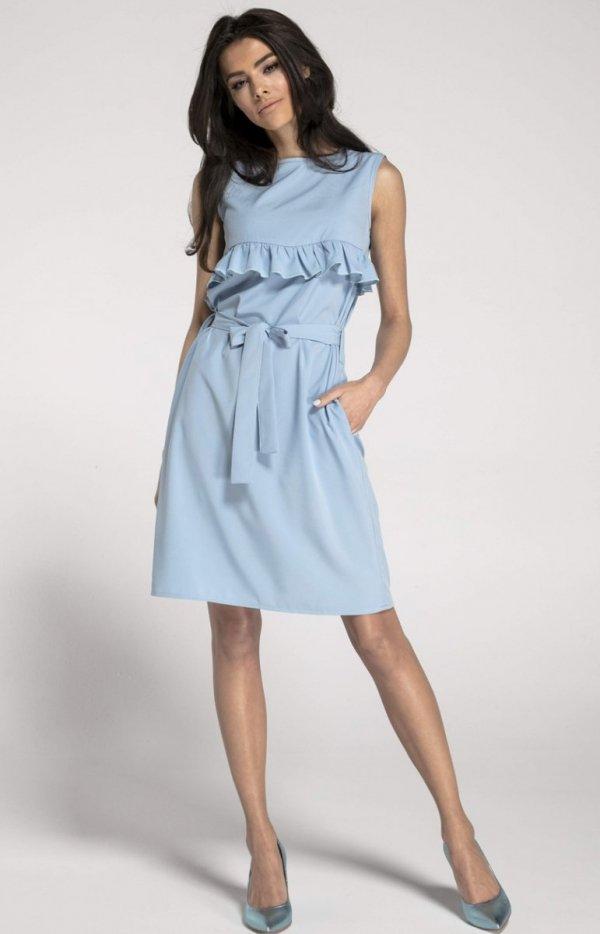 Prosta sukienka z falbanką błękitna NA1001_1