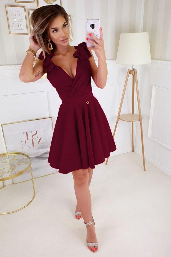 Wizytowa sukienka z kokardkami bordowa 2209-10-1