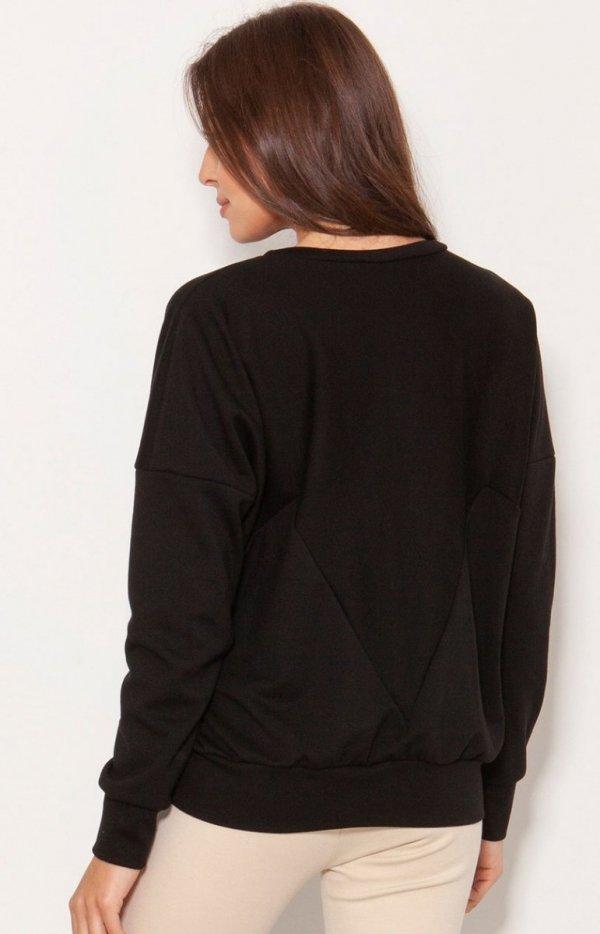 Luźna bluza damska czarna BLU148 tył