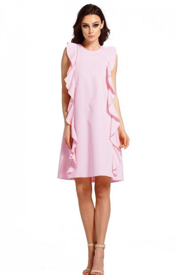 Oversizowa sukienka z falbanami pudrowy róż L298_1