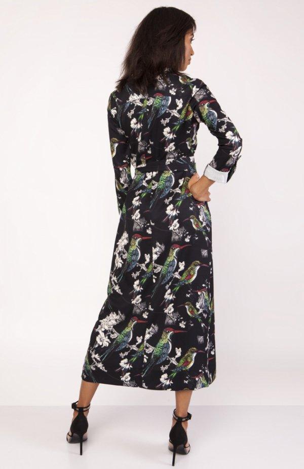 Sukienka maxi w ptaki SUK159 tył
