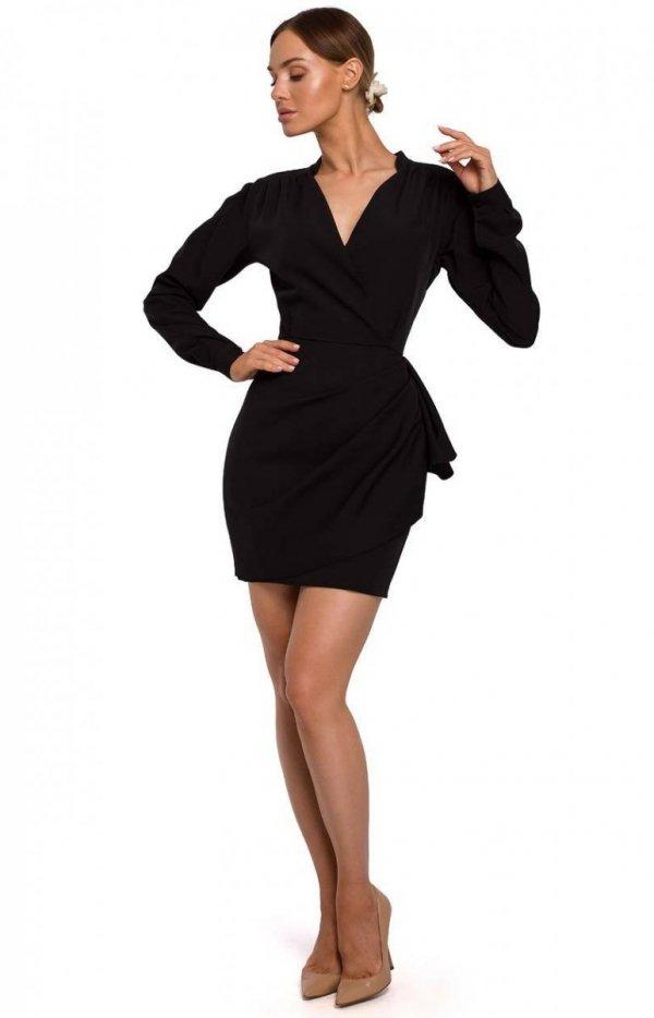 Elegancka mini sukienka z falbaną black M531-1