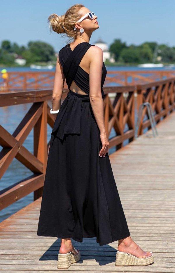 Letnia sukienka maxi czarna F1252 tył