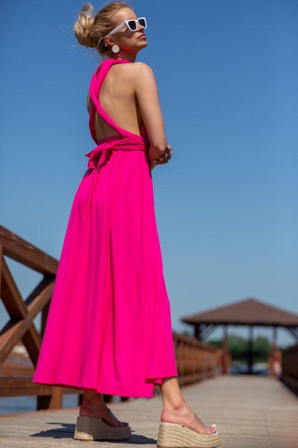 Letnia sukienka maxi fuksja F1252 tył1
