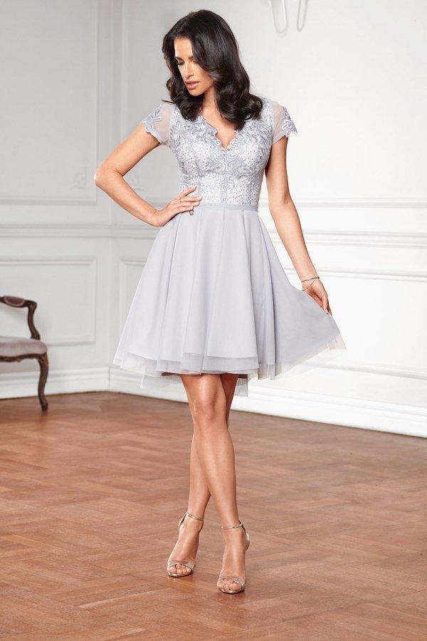 Sukienka z koronkową górą szara 2180-03_2