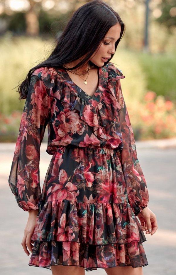 Kobieca sukienka mini z falbankami 0298 R79