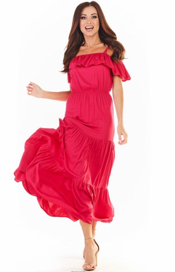 Długa letnia sukienka hiszpanka różowa A358