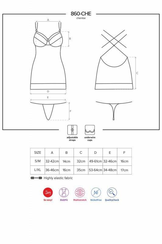 Koronkowa koszulka i stringi 860-CHE-2