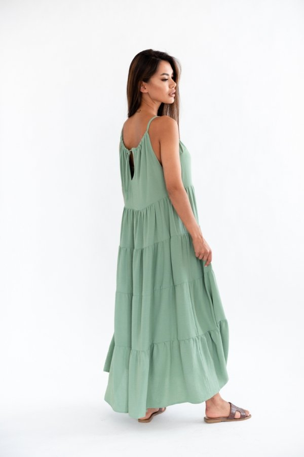 Letnia sukienka maxi oliwkowa Rossa tył