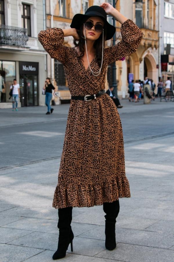 Sukienka midi w kolorową panterkę-1
