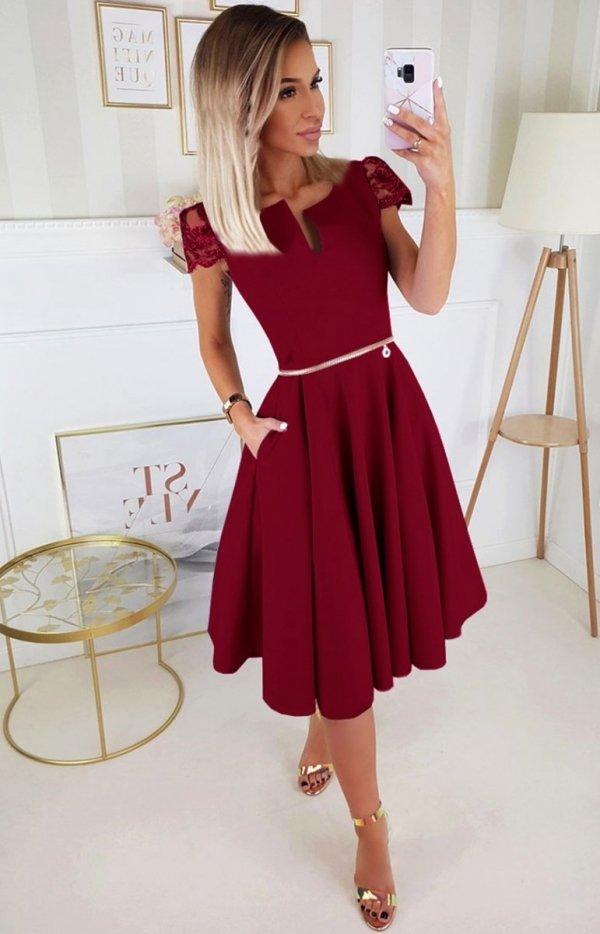Koktajlowa sukienka midi bordowa 2212-10-1