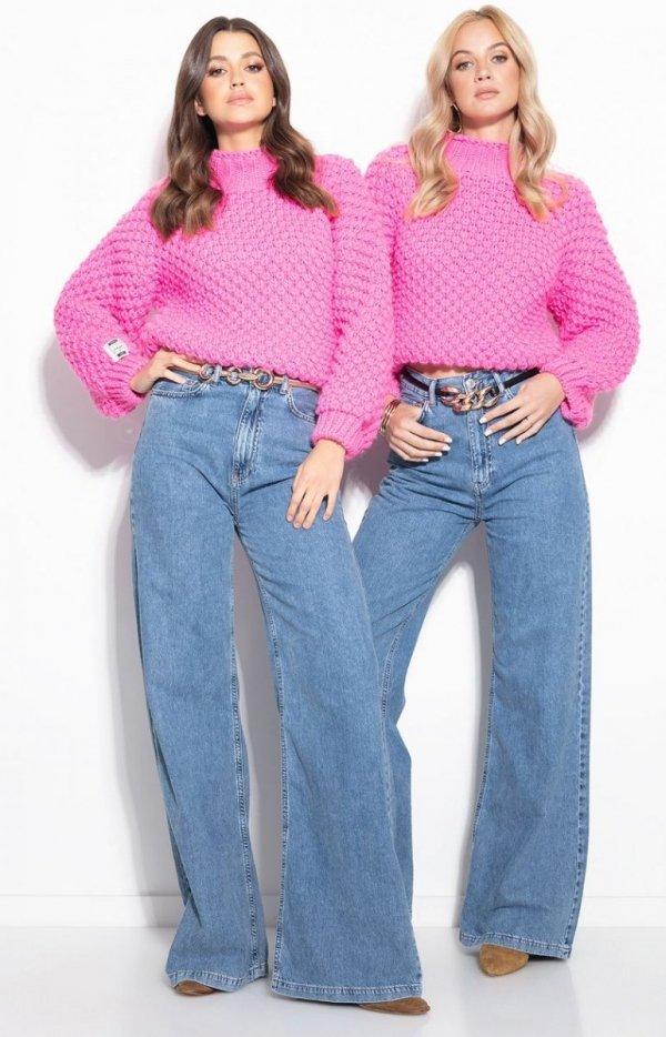 Ciepły gruby sweter damski różowy F1135-1