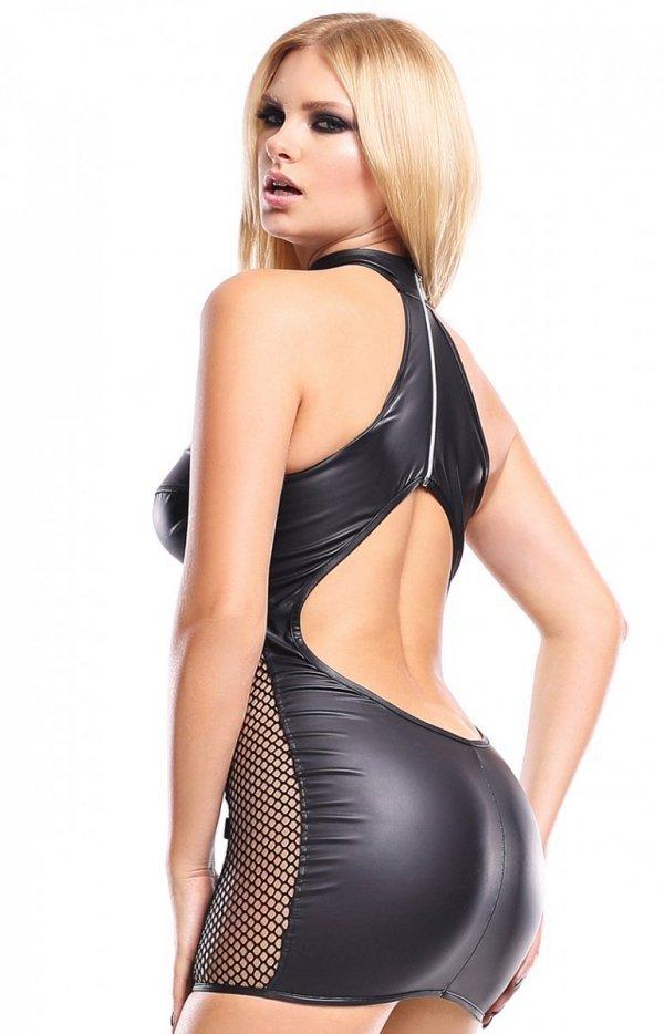 Sukienka ze skóry ekologicznej Feme001 tył