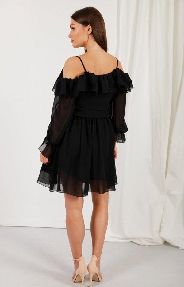 Zwiewna sukienka z falbanami L329 tył