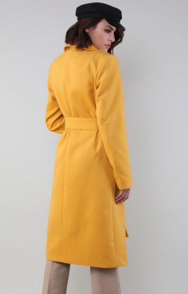 Ciepły płaszcz wiązany karmelowy NA186LP tył