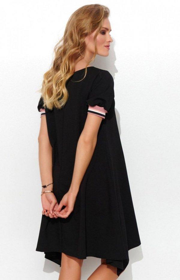 Asymetryczna dzianinowa sukienka NU299 tył