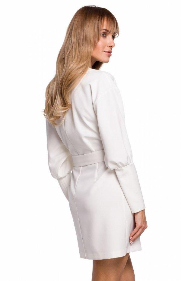 Stylowa sukienka z paskiem ecru M501 tył