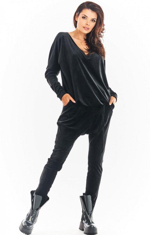 Welurowe spodnie czarne Awama A377