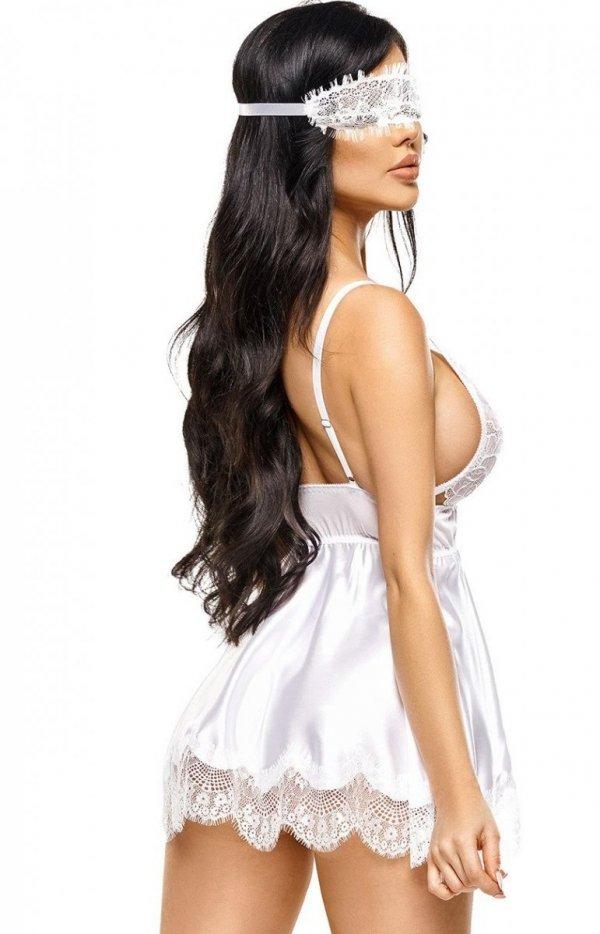 Beauty Night Eve rozkloszowana koszulka i stringi biała tył