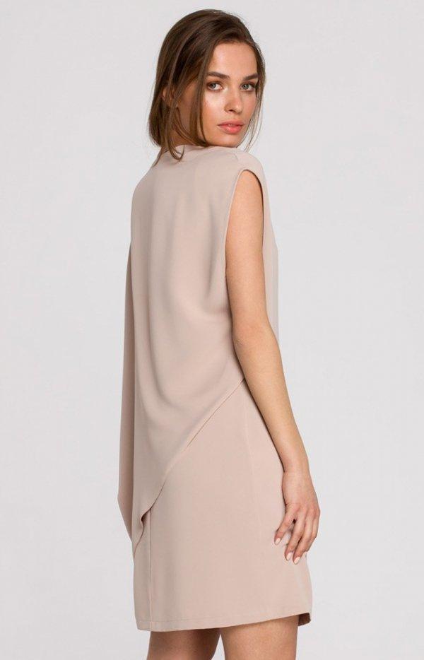 Elegancka sukienka mini warstwowa beżowa S262 tył