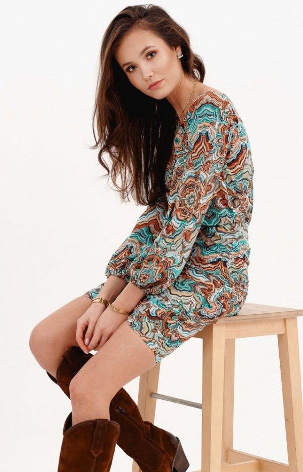 Ołówkowa sukienka z bufiastymi rękawami multi 0280/S27-1