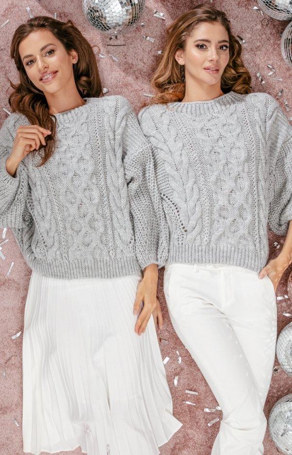 Oversizowy szary sweter Fobya F866