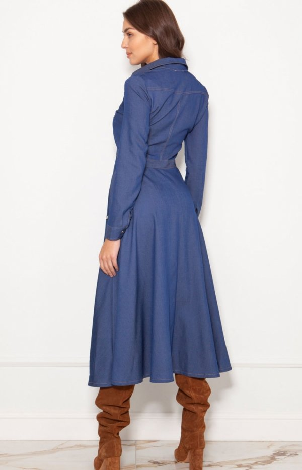 Koszulowa sukienka maxi jeans SUK190 tył