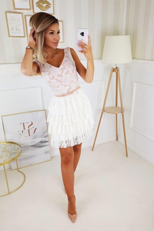 Elegancka sukienka z koronką beżowa 2211-21-1