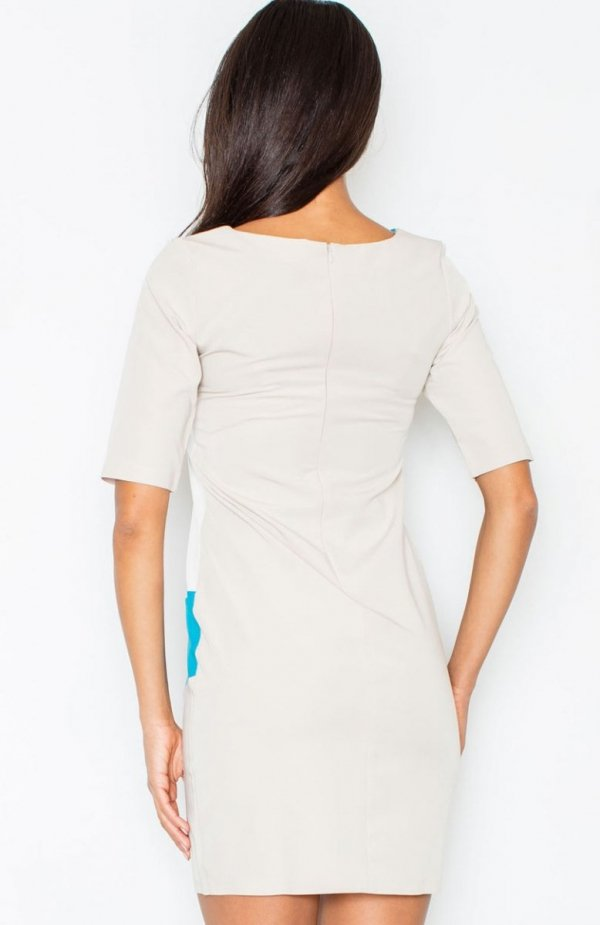 Figl M118 sukienka niebieska tył