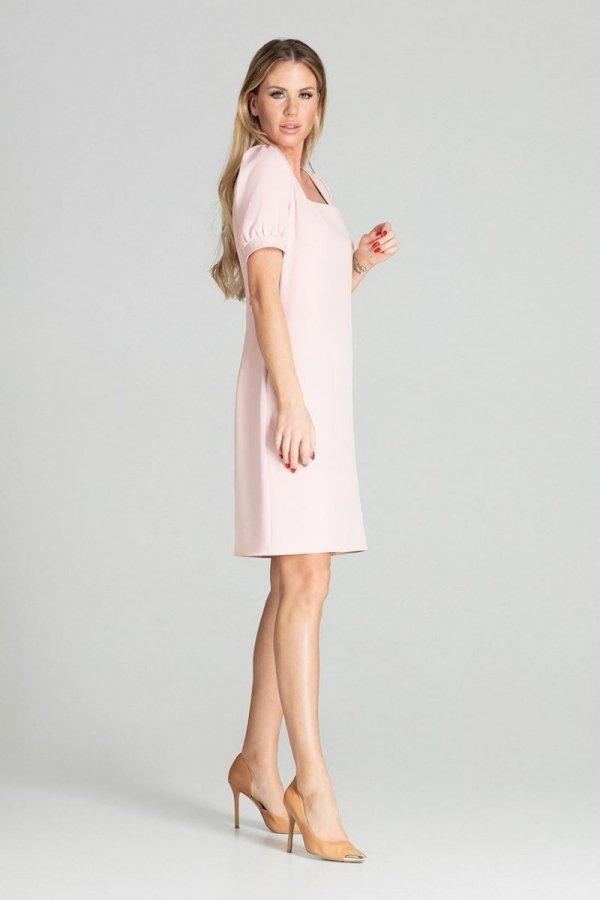 Sukienka w kratę Figl M704 pudrowy róż-1