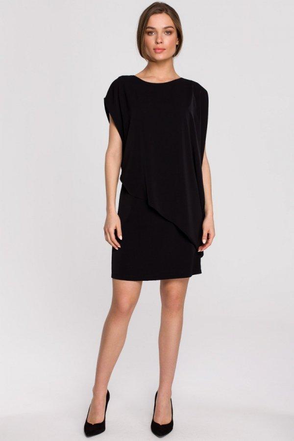 Elegancka sukienka mini warstwowa czarna S262-1