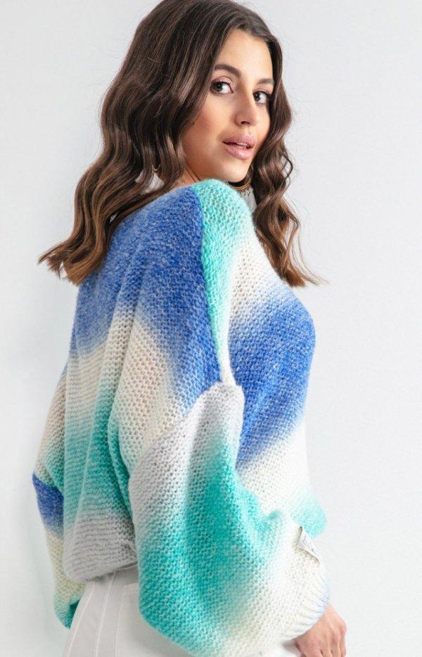 Pastelowy oversizowy sweter F1162 tył